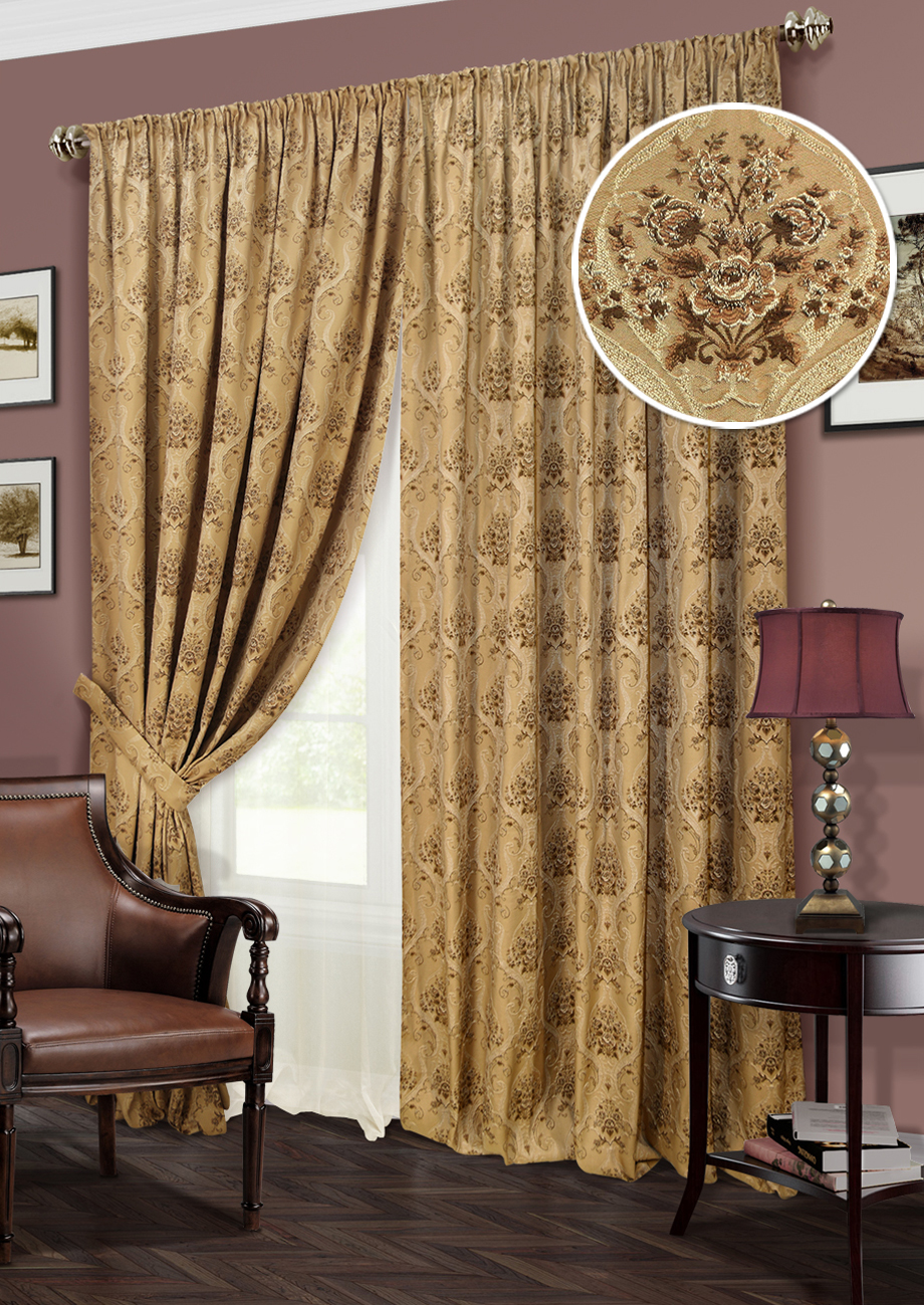 Curtains for the living room and bedrooms: Autunno (art. K123-326) - 450x270, (220x270) x2 cm - beige (620)