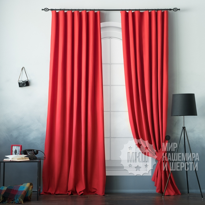 Curtains for the living room: Billy (art. BL01-109-06) - (170x270) x2 cm - red