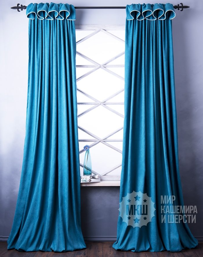 A set of bright curtains: SPRING (art. BL01-236-01) - (170x270) x2 cm. - (Height 250 cm. Possible) - turquoise