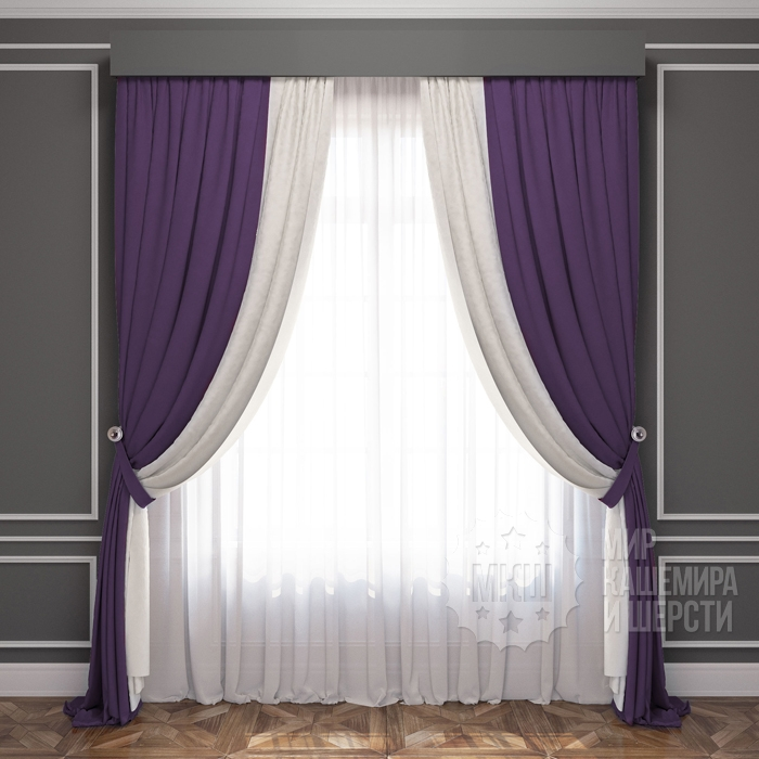 Finished curtains: LATUR (art. BL01-222-13) - 300x270, (170x270) x2 cm. - (Height 250 cm is possible.) - eggplant-white