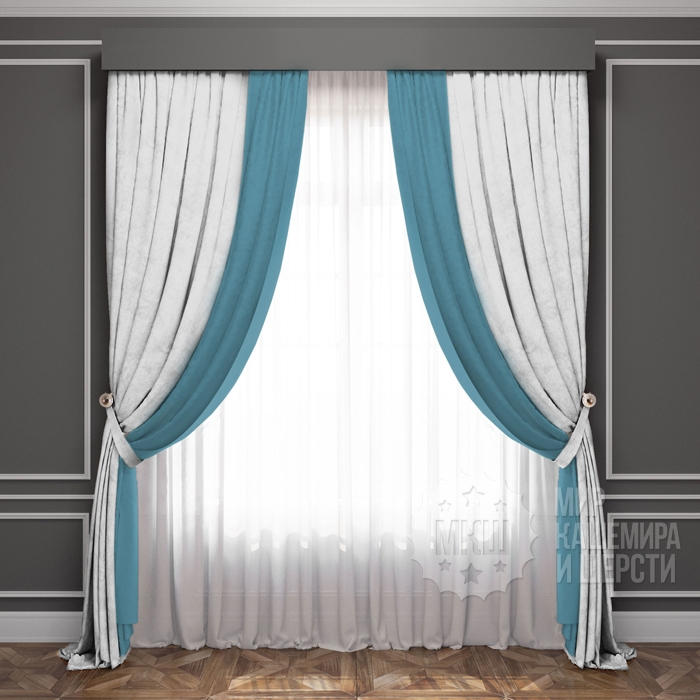 Finished curtains: LATUR (art. BL01-222-15) - 300x270, (170x270) x2 cm. - (Height 250 cm is possible.) - white-turquoise