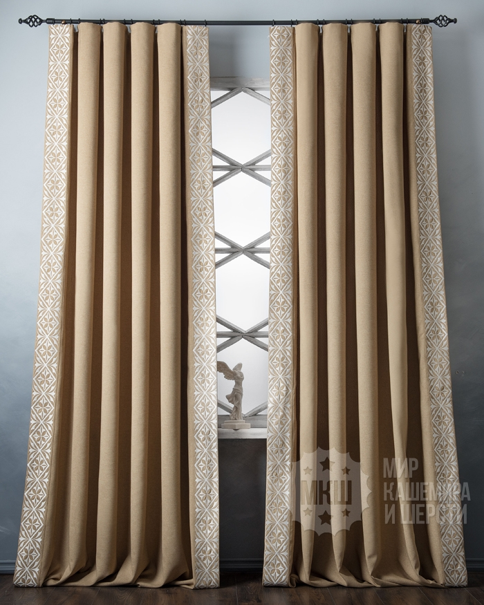 Luxury curtains with DUPONN embroidery (art. BL01-247-01) - (200x280) x2 cm . - mustard