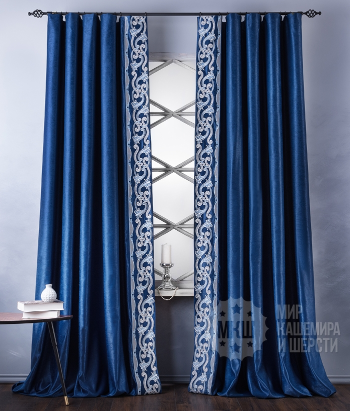 Ready-made curtains with VALLERI embroidery (art. BL01-248-03) - (200x270) x2 cm - blue