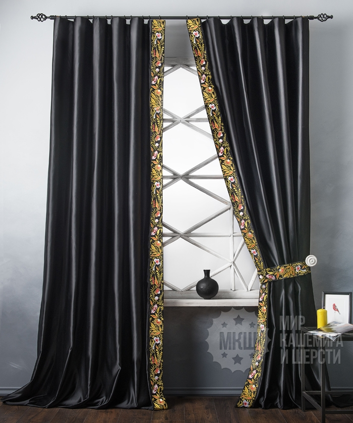 Satin curtains with embroidery SHARLIZZ (art. BL01-249-01) - (200x280) x2 cm . - black