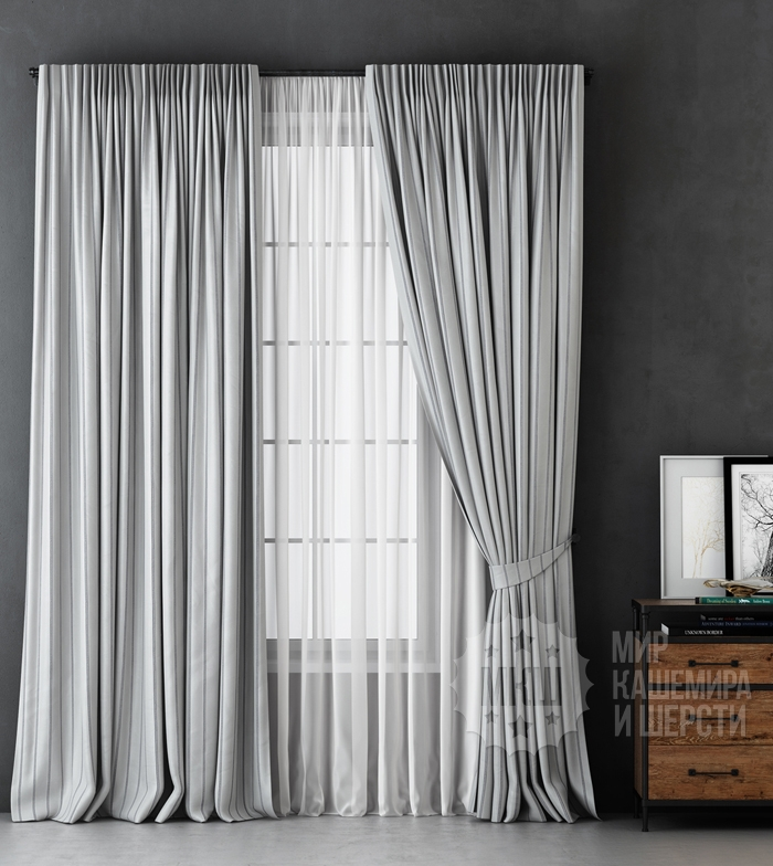 Blackout curtains ALEKS (art. BL01-251-01) - 300x270, (170x270) x2 cm . - (250 cm height is possible.) - light gray