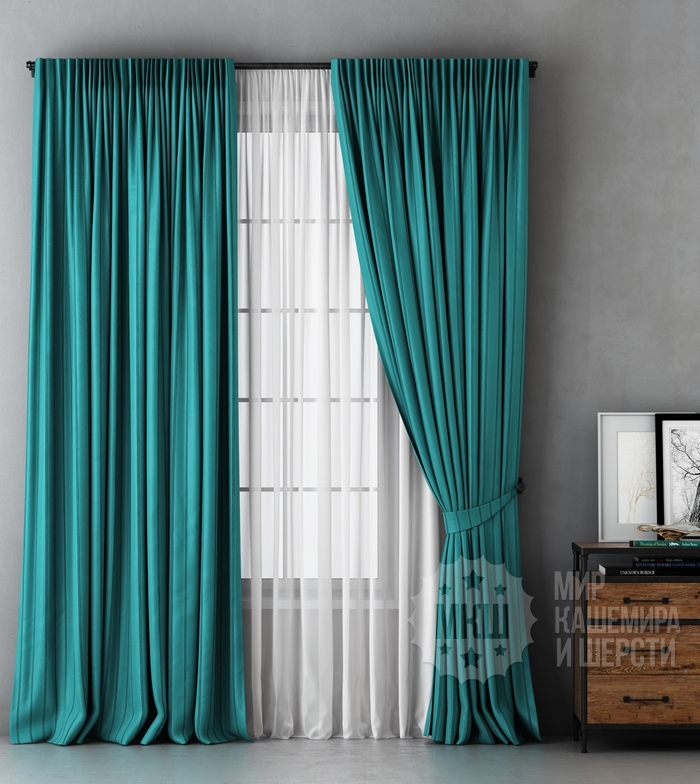 ALEKSS black curtains (art. BL01-251-02) - 300x270, (170x270) x2 cm . - (Possible height 250 cm.) - turquoise