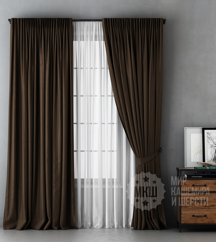 ALEKSS black curtains (art. BL01-251-03) - 300x270, (170x270) x2 cm . - (Possible height 250 cm.) - brown