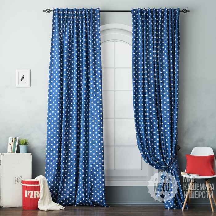 Cotton curtains for the SIRI bedroom (art. BL01-258-04) - (170x270) x2 cm - blue