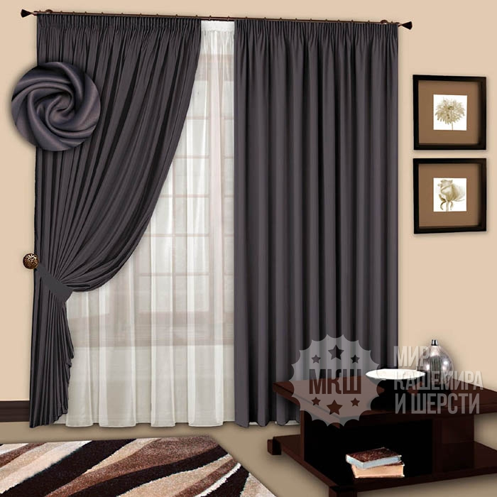Blackout curtains for the bedroom: Spark (art. 1107) - (200x270) x2 cm. - anthracite